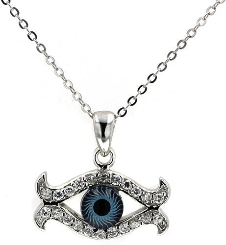 DiamondJewelryNY Evil Eye Sterling-Silver Evil Eye /& Cubic Zirconia Pendant And 18 Sterling-Silver Chain