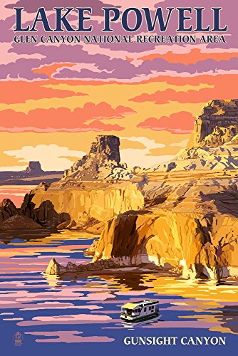 Lake Powell - Gunsight Canyon and Sunset (12x18 Fine Art Print, Home Wall Decor Artwork Poster) (Lake Powell Print)
