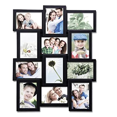 "Adeco 12 Openings Black Decroative Wall Hanging Collage Picture Frame - Made to Display Twelve 4x6 Photos - Material: Polypropylene; Glass Cover Protects Pics from Stain, Dust and Scraches Specs: Holds 12-4x6"" images, vertical and horizontal Features: Lightweight, Plain Frame with Impeccable Displaying Effect Preserves Memories and Sweeten Up Your Home - picture-frames, bedroom-decor, bedroom - 51FbcoP2RBL. SS400  -"