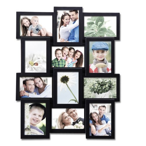 - Adeco 12 Openings Black Decroative Wall Hanging Collage Picture Frame - Made to Display Twelve 4x6 Photos