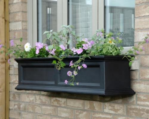 Mayne Fairfield 48'' Window Box Combo with Corbel Brackets - Black 4' by Home Wishes