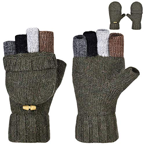 Thumb Pop Green (Maylisacc Winter Wool Blended Fingerless Mittens Gloves Convertible for Women & Men Army Green)