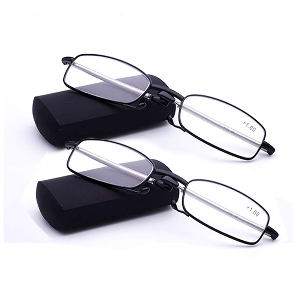 7f0b8c5b28100 Amazon.com  2 Park Readers Glasses are Portable and Foldable Metal Alloy  Frame Folding Small Reading Glasses Reader for Men and Women …