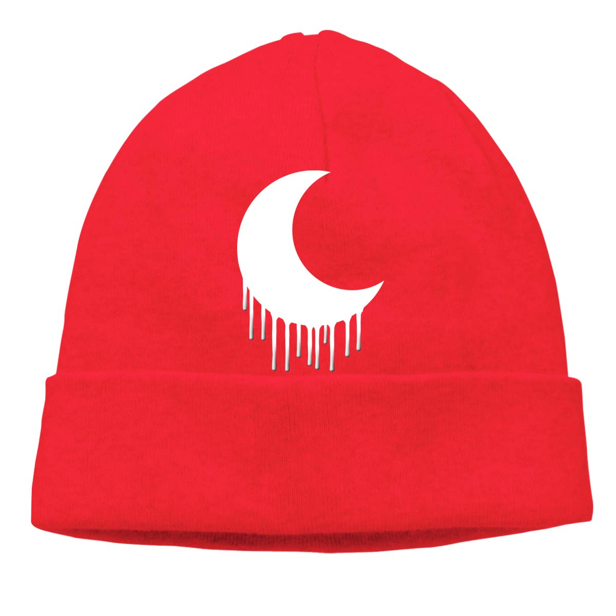 Edgy Goth Crescent Moon Mens Beanie Cap Skull Cap Winter Warm Knitting Hats.