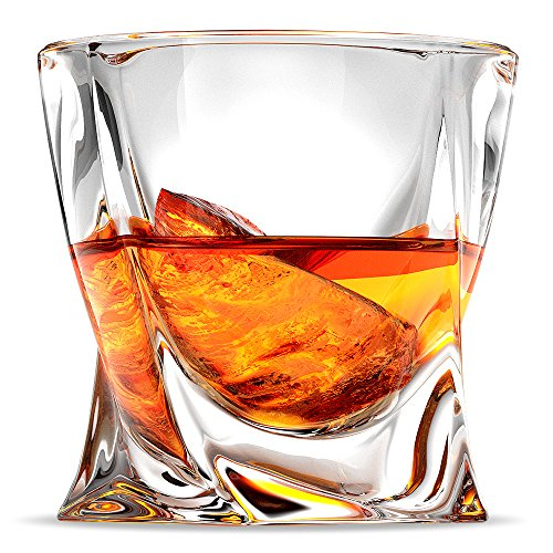 Ashcroft Twist Whiskey Glass Set or 2, Unique Modern Rocks Lead Free Crystal Glasses for Scotch or Bourbon With Luxury Gift Box -