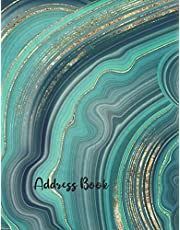 Address Book: Green Agate Large Print Adresses Book with Alphabetical Organizer For Address, Phone Number, Email, Birthday, Home, Work, Emergency reference, Anniversaries and Birthdays: 20