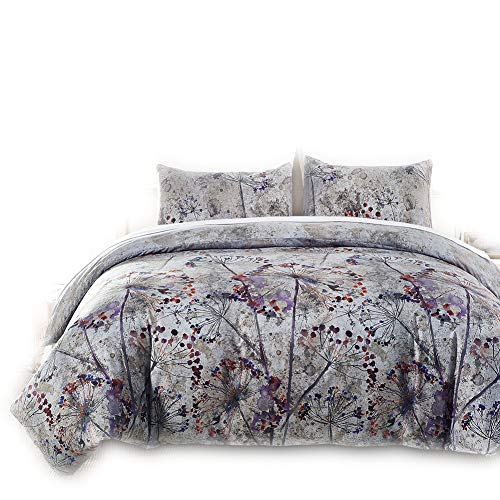 RheaChoice 100% Microfiber Duvet Cover Set Oil Painting Floral Pattern,Queen/Full(90