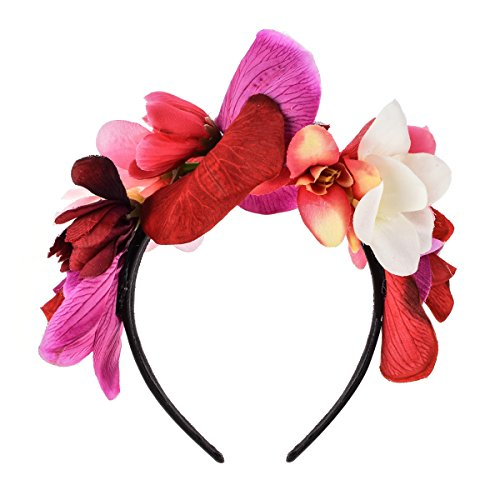 Love Sweety Frida Kahlo Flower Crown Mexican Featival Headband Day of The Dead Headpiece (Red)