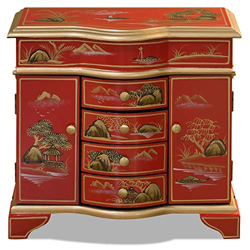 Cabinet Painted Asian - ChinaFurnitureOnline Chinoiserie Jewelry Cabinet, Hand Painted Chinese Mountain Landscape Matte Red