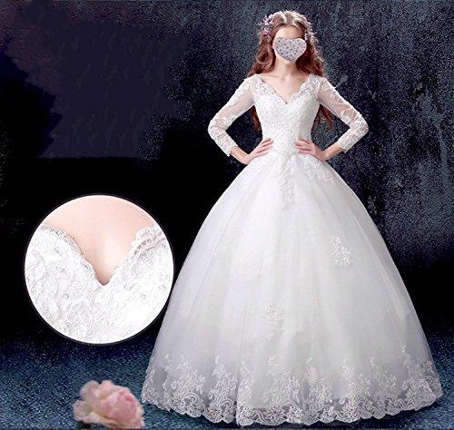 Weiß Ballkleider V Brautkleider Mingxuerong lange Ausschnitt Hochzeitskleid Ärmel Damen elegante mit Vintage w6vUxvPgq