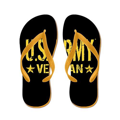 Cafepress Us Army: Veteran (gold Stars) - Chanclas, Sandalias Thong Divertidas, Sandalias De Playa Naranja