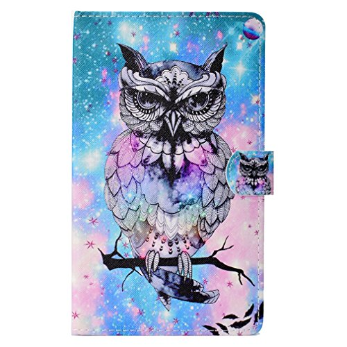 Slot Fire Bookstyle Stent 1 LMFULM Magnetic Amazon Owl Holster Function Color 7 and for 7 Closure Pattern 0 of Case Leather 2017 2015 Inch PU Card qqtxTH