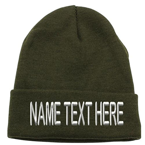 Caprobot ID Custom Embroidery Personalized Name Text Ski Toboggan Knit Cap Cuffed Beanie Hat - Army Green ... (Knit Hat Cuffed Green)