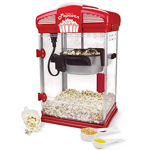WEST BEND 82515 Hot Oil Movie Theater Style Popcorn Popper Machine with Nonstick Kettle Includes Measuring Cup Oil and Popcorn Scoop, 4-Quarts, Red]()