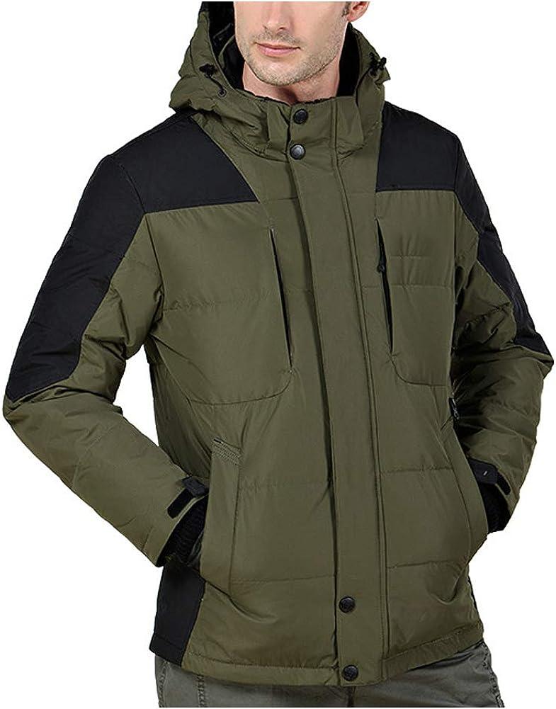SZGS Abrigo de algodón de Invierno para Hombres Chaqueta Acolchada Capucha Chaqueta de Plumas sección Larga Chaqueta Gruesa con Capucha Traje de esquí Traje de Alpinismo al Aire Libre pa