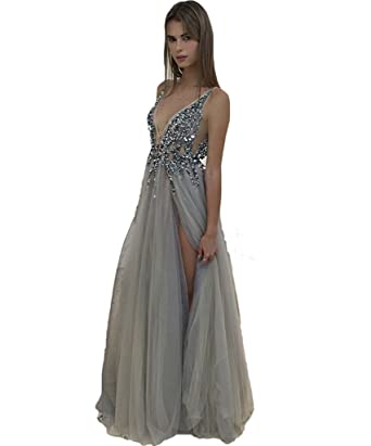 2018 Sexy Gray Prom Dresses with Deep V Neck Sequins Tulle and Lace Sex High Split