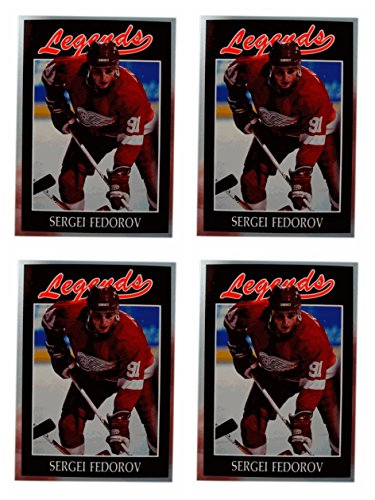 ((4) 1991 Legends #51 Sergei Fedorov Hockey Card Lot Detroit Red Wings)