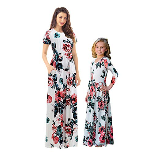 Mommy And Me Easter Dresses (MAKARTHY Mommy and Me Dresses Womens Summer Boho Floral Printed Long Dresses with Pockets)