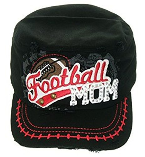 Leader Women's Embroidered Football Mom Cadet Hat One Size (Black Embroidered Football)