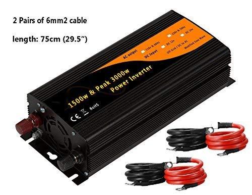 Encocy 1500w & 3000w Peak Car Power Inverter Adaptor DC12v to AC110v 60Hz Dual 2.1A USB&USA Socket (DC12v)