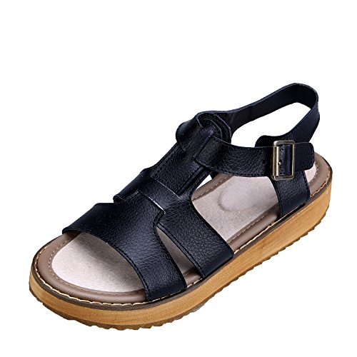 Smilun Lady's Sandal T Strap Strappy Sandal Slingback Strap Wedge Sandals Black