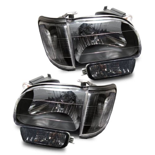 SPPC Black Headlights Assembly With Corner Sets For Toyota Tacoma - (Pair) Driver Left and Passenger Right Side Replacement (Black Headlights Corner)