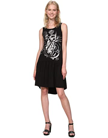 fee368d47 Desigual Dress Sleeveless Omahas Woman Black, Vestido para Mujer