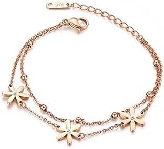 Findout 14K placcato oro rosa titanio acciaio Swiss Diamond fiore margherita cavigliera/bracciali per le donne ragazze (F989)