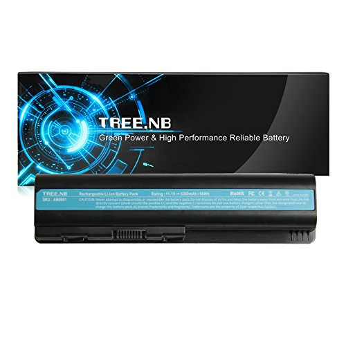 Tree.NB Laptop Battery for HP CQ50 CQ60 CQ70 G50 G60 G60T G61 G70 G71, Pavilion DV4-1000 DV4-2000 DV5-1000 DV6-1000 DV6-2000 fits P/N 484170-001 EV06 KS524AA KS526AA HSTNN-IB72, High Performance (1002au Battery)