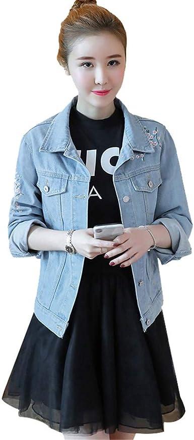 Primavera Vintage Denim Mujer Abrigo básico Suelta Manga Larga Bordado Jeans Casual Ropa de Abrigo de un Solo Pecho: Amazon.es: Ropa y accesorios