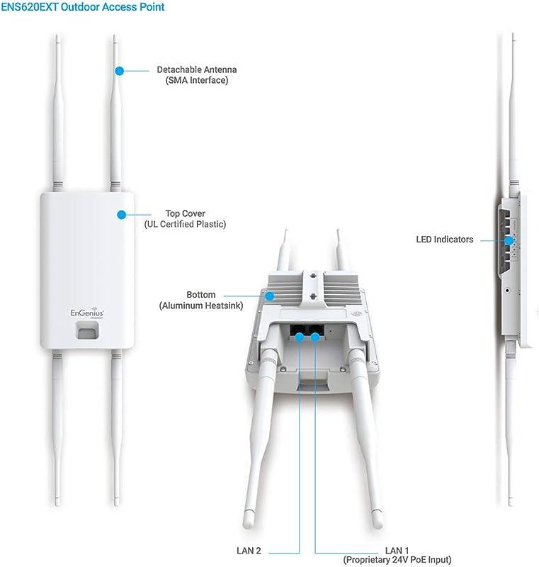 EnGenius 802.11ac Wave 2 2x2 Dual Band, high-powered, Outdoor wireless AP with external detachable antenna, 27dBm, 24V PoE, quad-core CPU, MU-MIMO