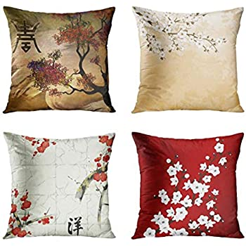 ArtSocket Set of 4 Throw Pillow Covers Japanese Zen Tree Chinese Eastern Nature Home Flowers Cherry Blossom Beige Cream Decorative Pillow Cases Home Decor Square 18x18 Inches Pillowcases