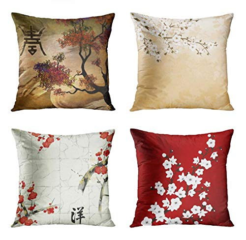 ArtSocket Set of 4 Throw Pillow Covers Japanese Zen Tree Chinese Eastern Nature Home Flowers Cherry Blossom Beige Cream Decorative Pillow Cases Home Decor Square 18x18 Inches Pillowcases ()