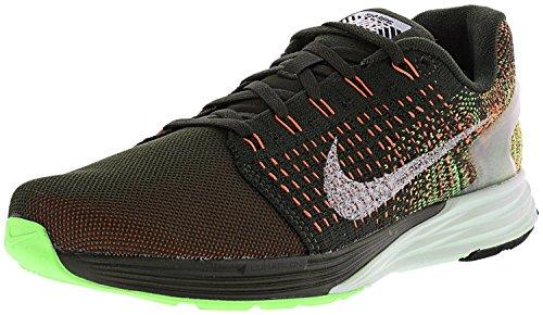 Nike Womens Lunarglide 7 Flash Alla Caviglia Con Scarponcini Da Corsa In Sequoia / Riflettono Argento-voltaggio Verde