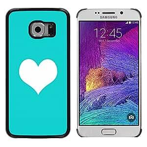 Be Good Phone Accessory // Dura Cáscara cubierta Protectora Caso Carcasa Funda de Protección para Samsung Galaxy S6 EDGE SM-G925 // mint green heart minimalist clean love