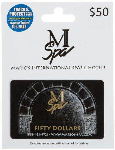 Marios International Spas   Hotels Gift Card  50