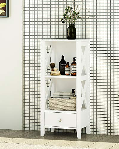 (Spirich Home Modern X- Frame Freestanding Floor 3-Shelf Bathroom Storage Tower with Single Drawers, Free Standing Bathroom Storage Cabinets, Bathroom Floor Cabinet Shelves, White)