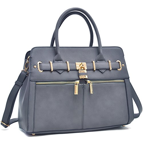 MKP Collection Medium Padlock Satchel~Beautiful Shoulder Handbag~Classic Woman Bag~Useful Handbag~Multi Color Choose(6750) Dark Grey