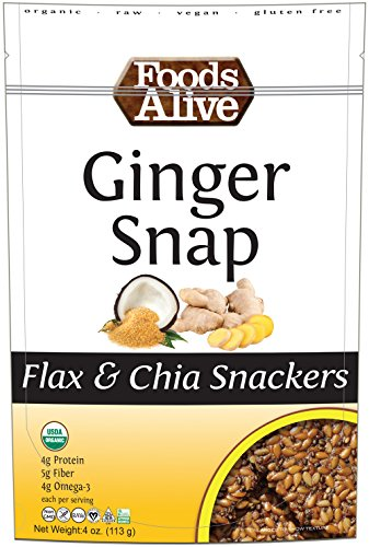 Foods Alive Ginger Snap Flax and Chia Snackers, 4 Ounce