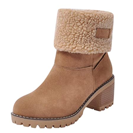 d98483c72107 Womens Winter Boots Faux Fur Warm Boots Suede Chunky Mid Heel Shoes Ladies  Casual Snow Ankle Booties  Amazon.co.uk  DIY   Tools