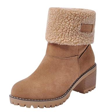 898d1960baecdf Stiefel Damen Boots Winterschuhe Flock Warme Stiefel Schneeschuhe Kurze  Stiefelette Pump Stiefel Freizeitschuhe Winterstiefel Blockabsatz Stiefel
