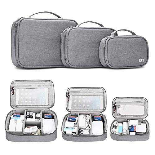 BUBM 3pcs Cable Organizer Bag Electronics Travel Organizer for Hard Drives, Cables, Phone, USB, SD Card(2 Year Warranty)