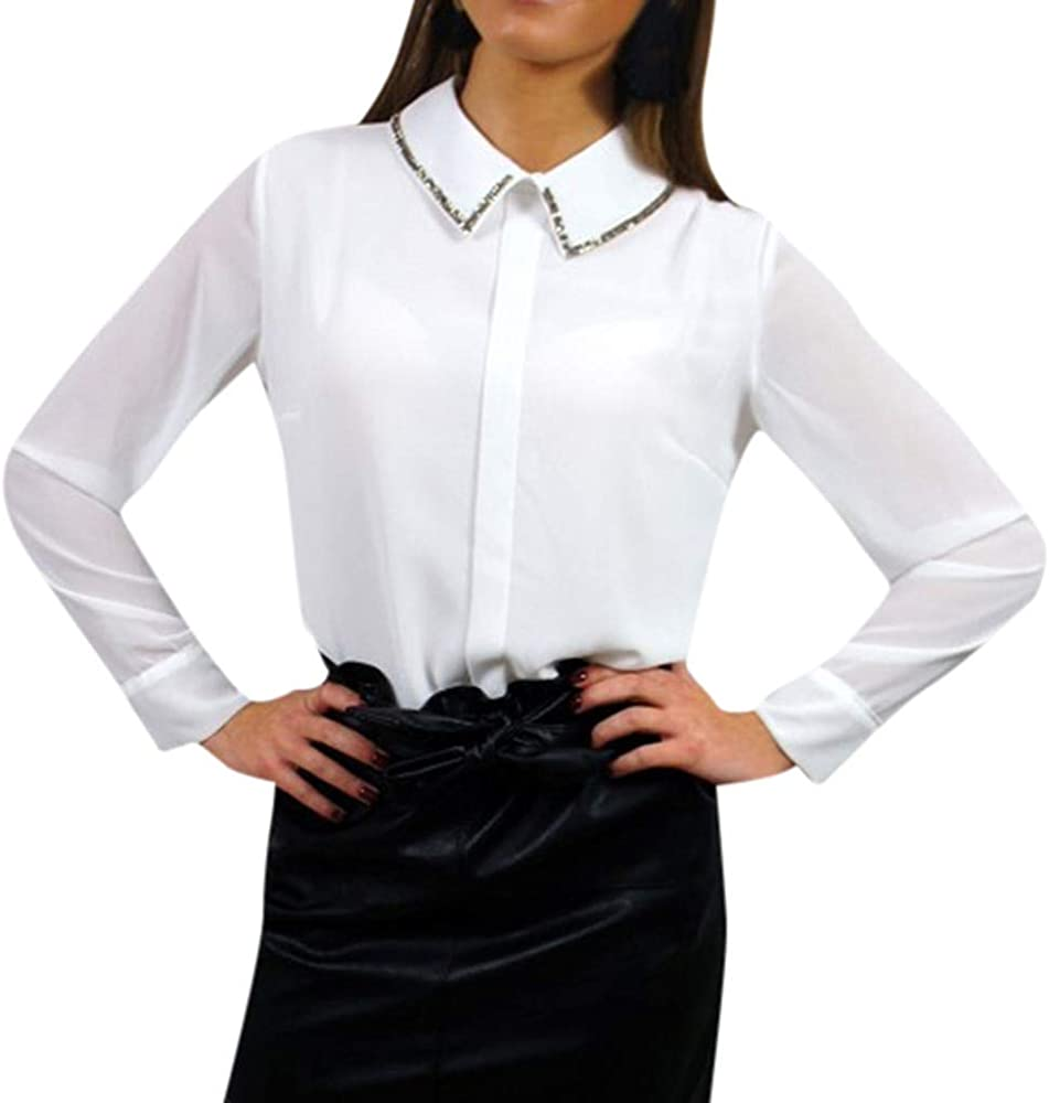 Sulifor Camisa Descubierta para Mujer Cuello de Manga Larga Casual Trabajo de Oficina Blusa de Gasa Camisas Tops: Amazon.es: Ropa y accesorios