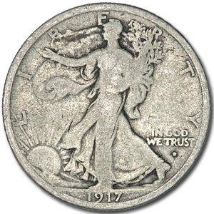 1917 D Obverse Walking Liberty Half Dollar VG Half Dollar Very Good