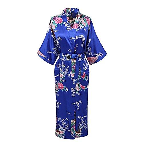 Elegant Long Floral Silk Kimono Womens Robe, Small to 3XL, 3XL, Jewel Blue