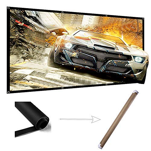 120 Inch Projector Screen Wrinkle Free Portable Indoor Outdoor Movie Screens 16:9 HD 4K with Hanging Hole Grommets Rolling High Color Reduction Home Theater Projection Cinema ()