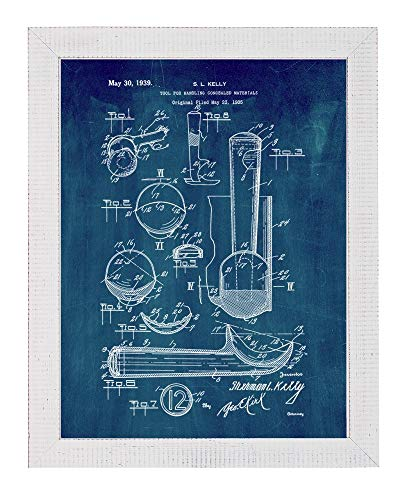 Ice Cream Scoop Patent Art Midnight Blue Print in a Distressed White Wood Frame (16