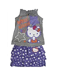 Hello Kitty Gray Purple Star Patterned Tiered 2 Pc Skirt Outfit 5