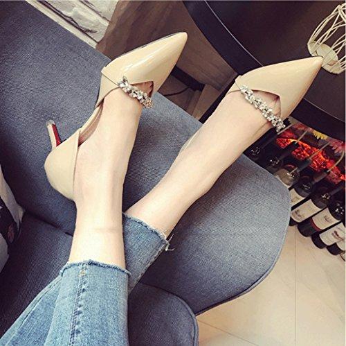 Vintage Feminine Hollow High Heels Sexy Kitten Heel Sandals Fashion Pointed-Toe Shoes Beige t8S85Y