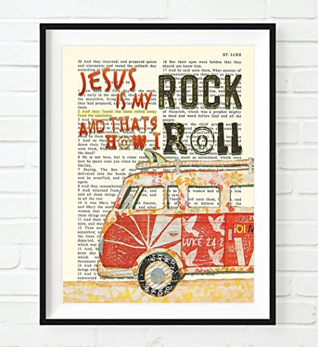 Jesus Is My Rock and that's How I Roll - Luke 24:2 Vw Volkswagen Bus Van Vintage Bible verse wall ART PRINT, UNFRAMED, Christian wall decor poster, 8x10 inches (Roll Rock Artwork And)